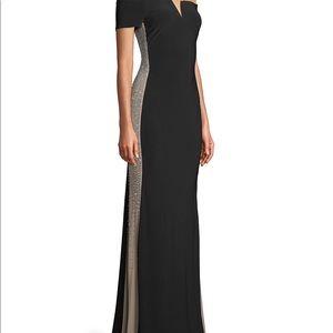 Xscape Black Off The Shoulder Beaded Side Dress